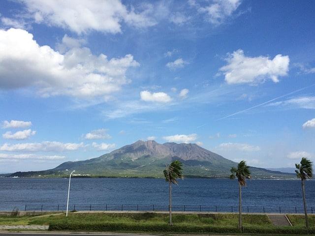 Vulkanen Sakurajima i Kagoshima, Japan.