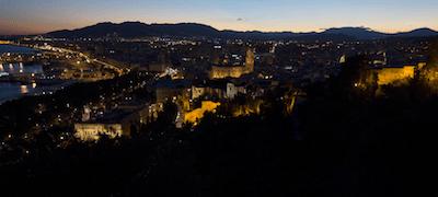 Malaga under kvällstid