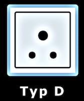 Illustration av eluttag Typ D som används i Dominica.