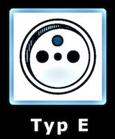 Illustration av eluttag Typ E som används i Slovakien.