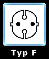 Illustration av eluttag Typ F som används i Montenegro.