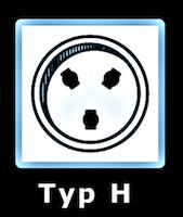 Illustration av eluttag Typ H som används i Israel.