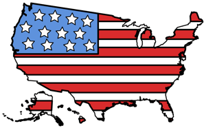Tecknad karta över delstaterna i USA